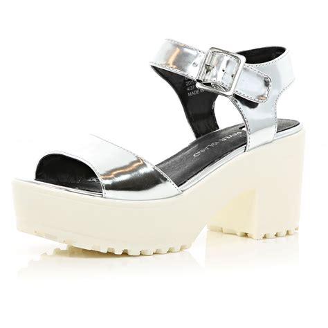 silver platform sandals river island silver metallic cleated sole platform sandals