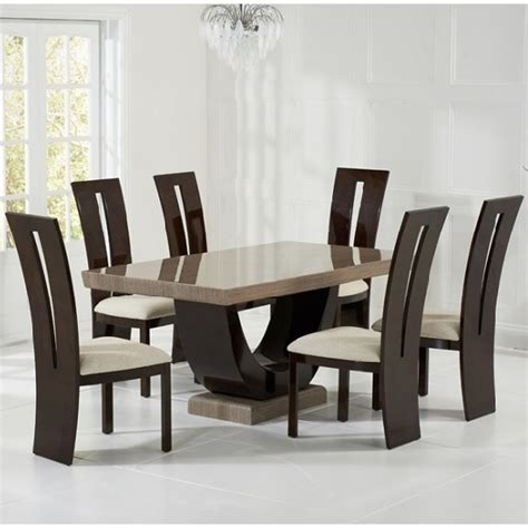 marble dining room sets marble dining set in brown with 6 ophelia