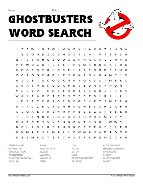 Free Search Search Ghostbusters Word Search Free Printable Allfreeprintable