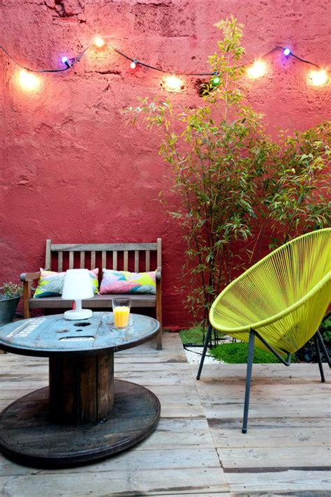 wooden cable reel   patio table interior design ideas