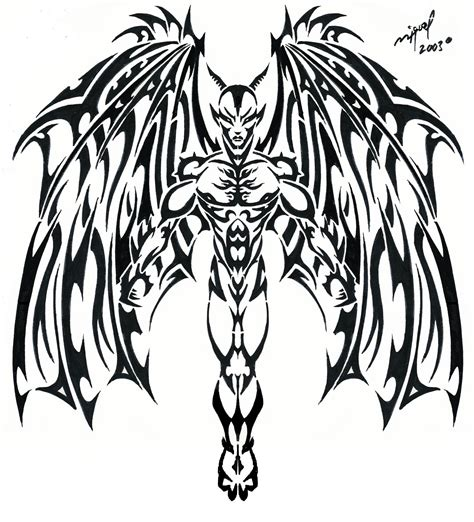 demon tribal tattoos black tribal stencil by mig fernandez