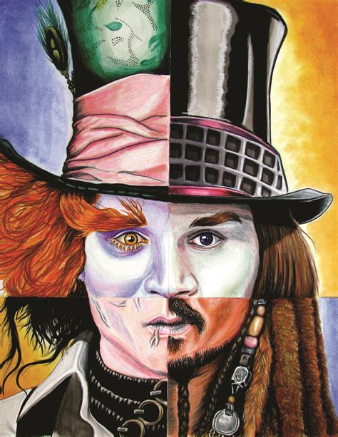 best johnny depp johnny depp s best characters portrait mixed media on