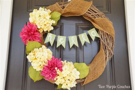 diy spring wreath spruce up a wreath with a diy banner two purple couches