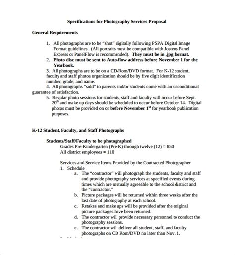 13 Photography Proposal Templates Sle Templates Photography Rfp Template