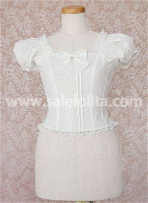 sell kawaii white puff sleeves cotton blouse