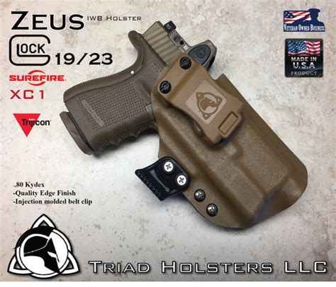 glock 19 iwb holster with light kydex holster ares glock 19 with surefire xc1 and rmr