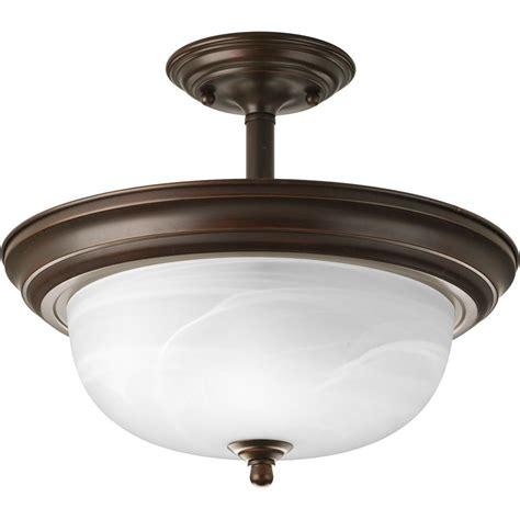 Alabaster Ceiling Lights Progress Bronze Semi Flushmount Ceiling Light With Alabaster Glass P3927 20 Destination Lighting