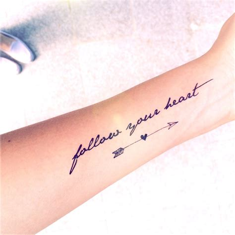 follow your heart tattoo follow your dreams quotes tattoos quotesgram