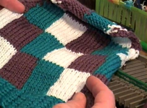 pattern knitting machine creating an intarsia checkerboard design using your