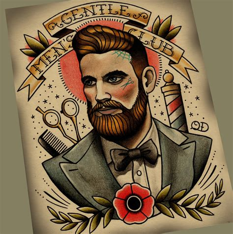 gentlemen s club tattoo art print by parlortattooprints on