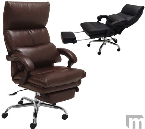 reclining desk chair with footrest pillow top leather office recliner w footrest