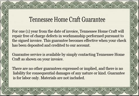 guarantee tennessee home craft