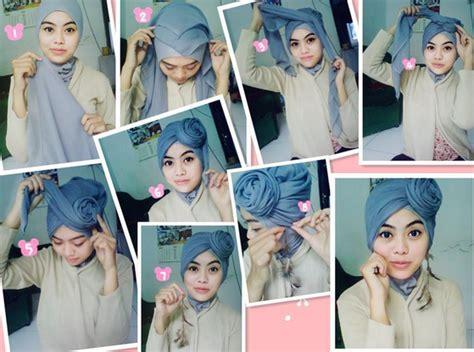 tutorial turban untuk wajah bulat kreasi jilbab turban segi empat untuk pesta ala dian pelangi