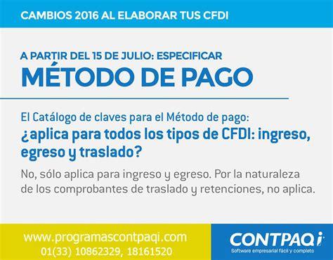 metodo de pago en recibos de nomina 2016 programas contpaqi m 201 todo de pago