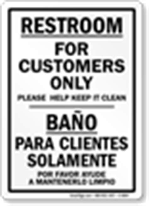 bathroom for customers only sign bilingual bathroom signs spanish bathroom signs