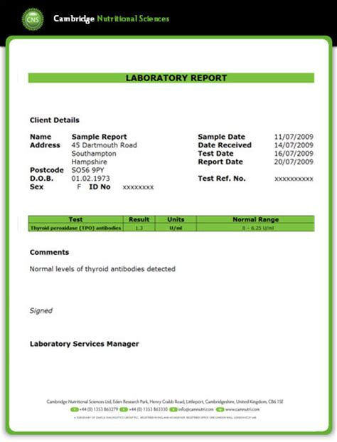 Test Report Email Template Thyroid