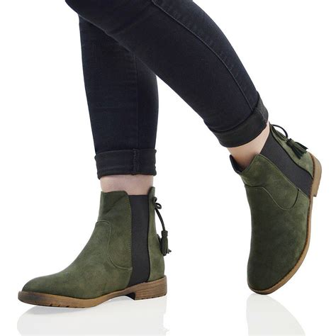 Tragen Bow Casual Boots womens chelsea pull on bow elastic biker