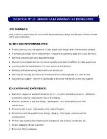 Senior Net Developer Description by Senior Data Warehouse Developer Description Duties And Responsibilities