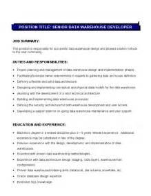Senior Data Warehouse Developer Job Description Hashdoc