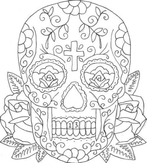 sugar skull coloring page pdf printable coloring pages of skulls and roses candy skull