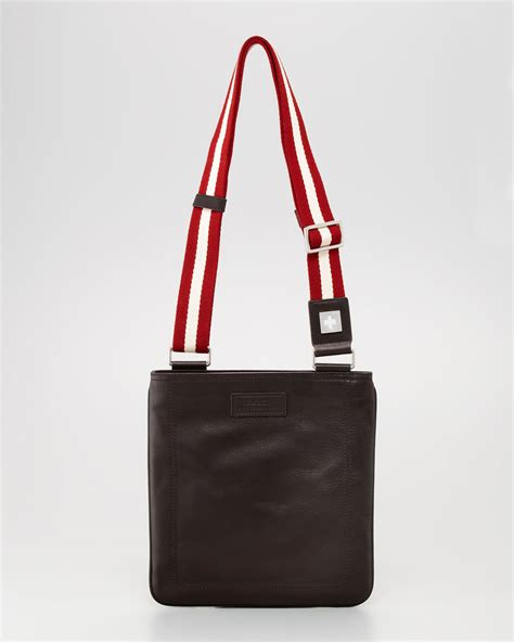 bags for lyst bally taisten webstrap crossbody bag in brown for