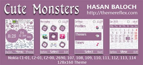 cute themes for nokia c2 cute monsters theme for nokia c1 01 c1 02 c2 00 107