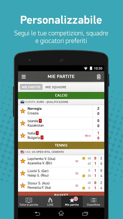 diretta gol it mobile risultati e statistiche di 30 sport in tempo reale con l