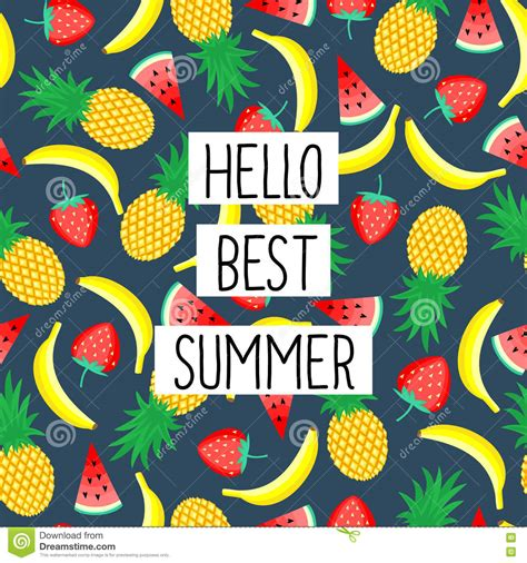 Hello Top Hello Best Summer Phrase On Seamless Pattern With Yellow
