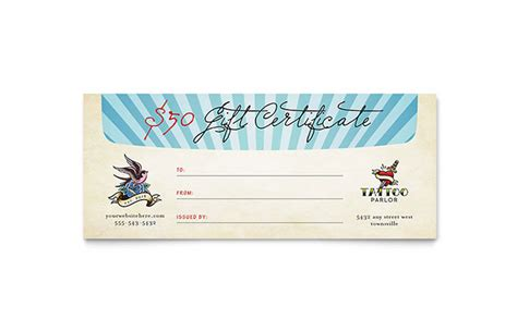 body art tattoo artist gift certificate template word