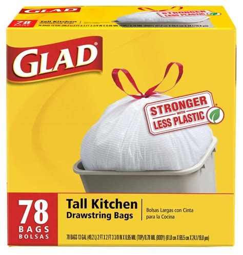 glad kitchen drawstring garbage bags 78