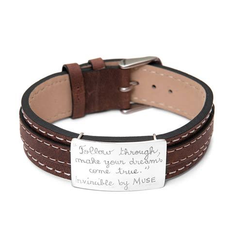 leather bracelets personalised sterling silver and leather bracelet by merci