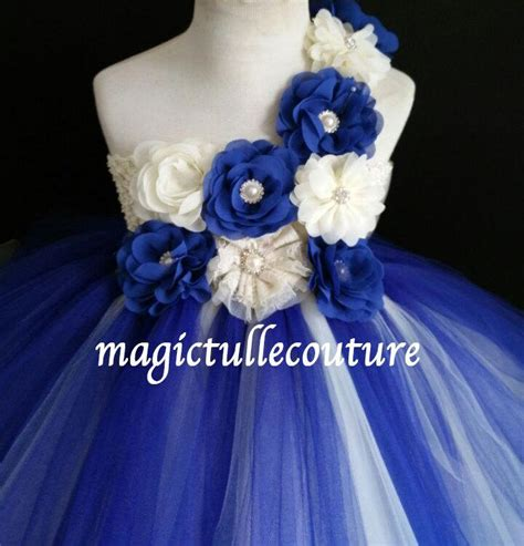 Royal Blue And Ivory Wedding Decorations by Ivory And Royal Blue Flower Tutu Dress Wedding Dress
