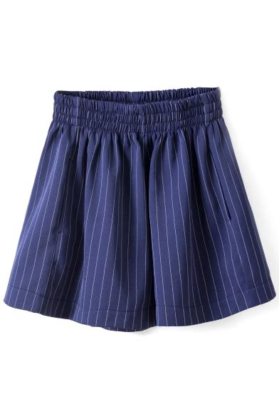 Stripe Wide Leg Shorts elastic high waist stripe print wide leg shorts
