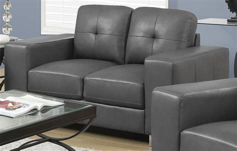 charcoal grey loveseat 8222gy charcoal grey bonded leather loveseat 8222gy monarch
