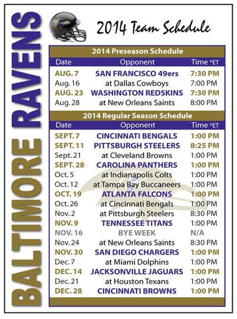 printable ravens schedule 2014 baltimore ravens football schedule magnet magnet