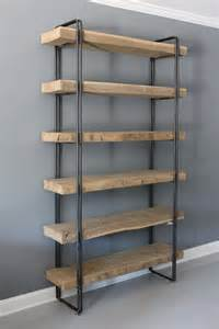 commercial wood shelving reclaimed wood bookcase shelving unit storage industrial