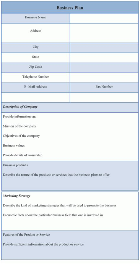 business plans template business plan template sle format of business plan