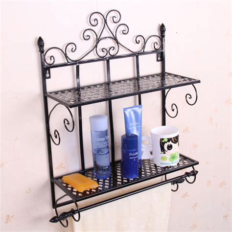 Wrought Iron Bathroom Shelves Bathroom Household Items Bathroom Storage Rack Wrought Iron Wall Towel Rack Shelf Intowel Racks