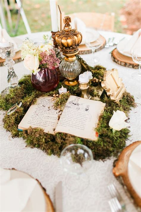 Whimsical Moss and Vintage Book Centerpiece Chelsea