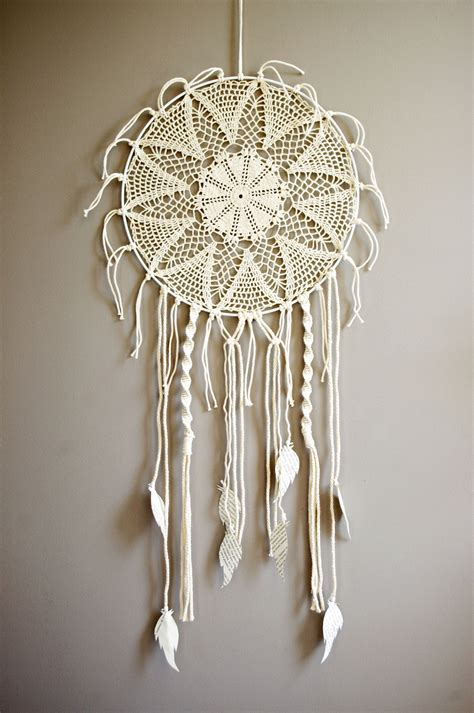 Macrame And Crochet - attrape r 234 ves rond en macram 233 et crochet blanc crochet