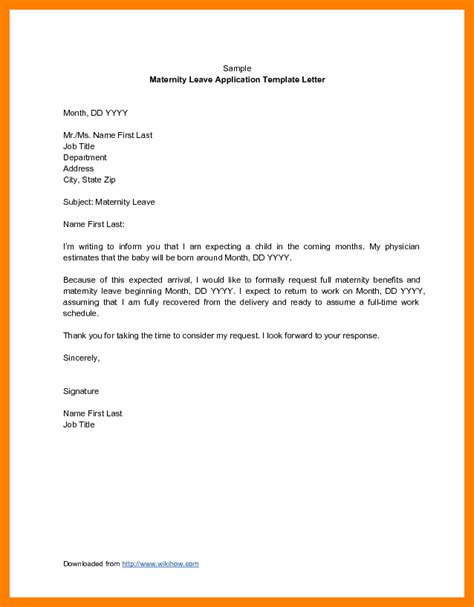 exle of formal leave letter 3 exles of maternity leave letters lpn resume