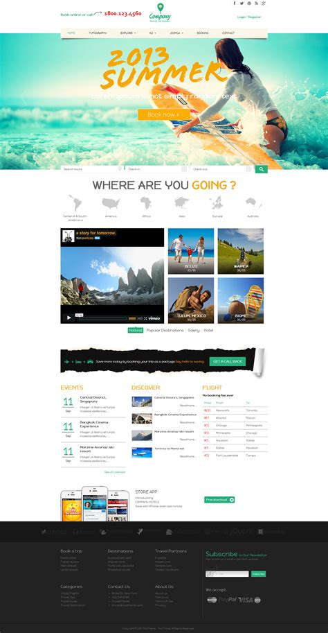 create joomla 3 template from scratch noo travel responsive joomla 3 travel template on behance