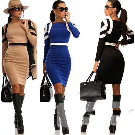 2015 coco channel working dresses with sleeve