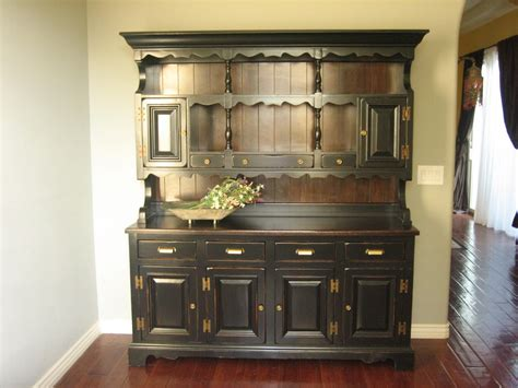 kitchen buffet hutch furniture european paint finishes rustic black farmhouse hutch