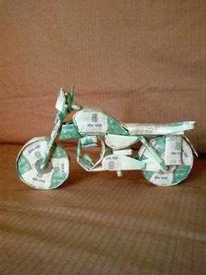 Origami Motorcycle - dollar bill origami