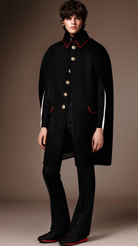 wool cashmere blend military cape coat burberry lyst burberry wool cashmere military cape in black for men