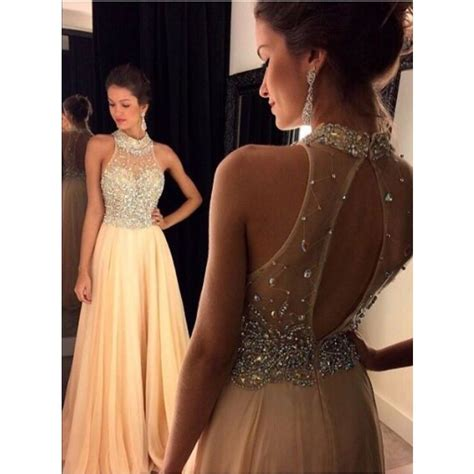 most popular prom colors for 2015 2016 light chagne prom dress beading halter long