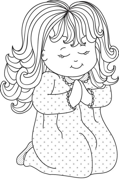 little girl praying coloring page pin by linda morris on cards clipart and printables