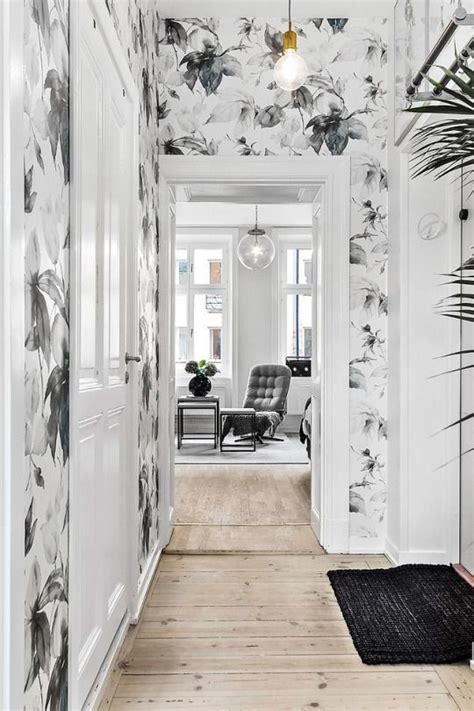 foyer wallpaper ideas wallpaper feature wall bold entrance contrast design