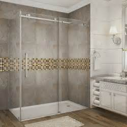 60 Shower Door Aston Moselle 60 Inch X 35 Inch X 75 Inch Frameless Sliding Shower Door Enclosure In Stainless